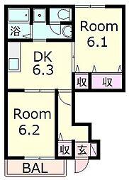 滋賀県近江八幡市西庄町の賃貸アパートの間取り