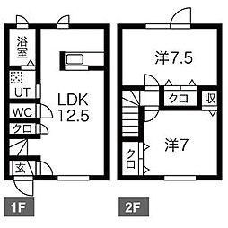 [テラスハウス] 北海道札幌市白石区栄通16丁目 の賃貸【/】の間取り