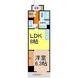 愛知県名古屋市西区菊井2の賃貸マンションの間取り