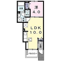 坪井2丁目アパート 1階1LDKの間取り