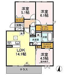 福岡県福岡市城南区長尾4丁目の賃貸アパートの間取り