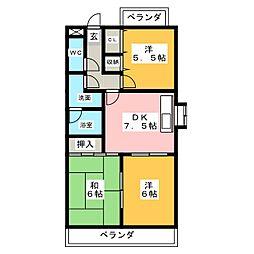 愛知県名古屋市天白区中平5の賃貸アパートの間取り