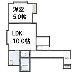 北海道札幌市西区発寒六条14丁目の賃貸アパートの間取り