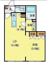 Comfort City(コンフォートシティ) 3階1LDKの間取り