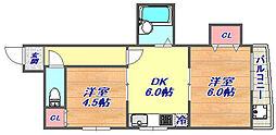 サンビルダー六甲駅前 6階2DKの間取り