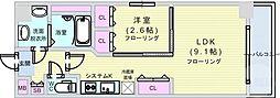Osaka Metro長堀鶴見緑地線 松屋町駅 徒歩4分の賃貸マンション 12階1LDKの間取り