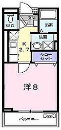 大阪府枚方市山之上2丁目の賃貸アパートの間取り