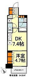 東京メトロ有楽町線 豊洲駅 徒歩9分の賃貸マンション 14階1DKの間取り