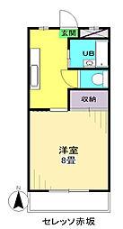 セレッソ赤坂 3階1Kの間取り