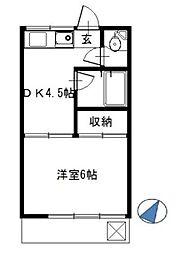 東京都練馬区貫井3丁目の賃貸アパートの間取り