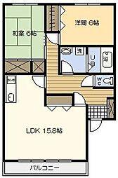 セジュール鳥居原[101号室]の間取り