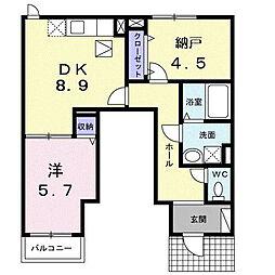 ラ・フルール[1階]の間取り