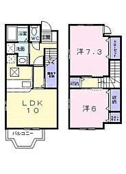 大阪府大東市御供田4丁目の賃貸アパートの間取り