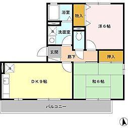 大阪府堺市北区百舌鳥陵南町1丁の賃貸アパートの間取り