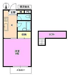 長野県長野市三輪2丁目の賃貸アパートの間取り