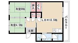 愛知県尾張旭市新居町五反田の賃貸マンションの間取り