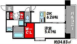 ビュークレスト香椎駅前[6階]の間取り