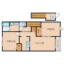奈良県磯城郡三宅町伴堂の賃貸アパートの間取り