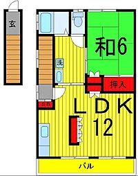 第一倉沢アパート[2F号室]の間取り