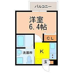 名鉄瀬戸線 喜多山駅 徒歩8分の賃貸アパート 3階1Kの間取り
