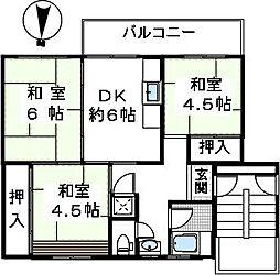 金剛第三住宅222棟[3階]の間取り