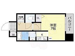 クレアート大阪トゥールビヨン 9階1Kの間取り