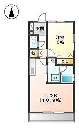 エンド−ル安井[1階]の間取り
