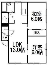 北海道札幌市中央区南七条西26丁目の賃貸アパートの間取り
