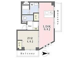 MT・夙川 2階1LDKの間取り