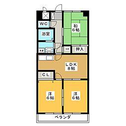 フラワーガーデン1−49[2階]の間取り