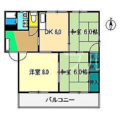 ハイツシャンテ B[1階]の間取り