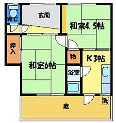[テラスハウス] 徳島県徳島市城南町1丁目 の賃貸【徳島県 / 徳島市】の間取り