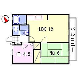 秋桜壱番館[203号室]の間取り