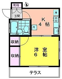 矢島ハイツ[1階]の間取り