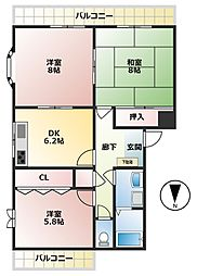 シェ・モア中央町IV[121号室]の間取り