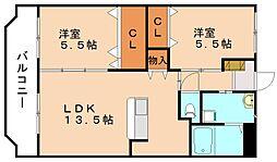 エスポワールK[4階]の間取り