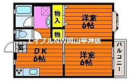 JR山陽本線 瀬戸駅 3.7kmの賃貸アパート 1階2DKの間取り