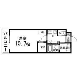S.F北仙台ステーション 2階1Kの間取り
