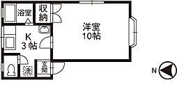石川県野々市市住吉町の賃貸アパートの間取り