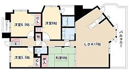 愛知県名古屋市瑞穂区桃園町3丁目の賃貸マンションの間取り