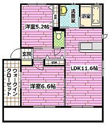 広島県安芸郡熊野町萩原5の賃貸アパートの間取り