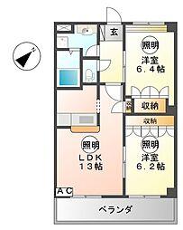 愛知県一宮市丹陽町九日市場字出口の賃貸アパートの間取り