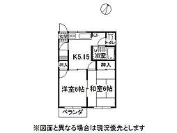 長野県岡谷市長地小萩3丁目の賃貸アパートの間取り