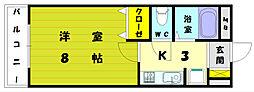福岡県福岡市東区雁の巣1丁目の賃貸アパートの間取り