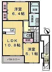 栃木県鹿沼市緑町2丁目の賃貸アパートの間取り