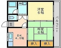 岡山県岡山市中区原尾島2丁目の賃貸マンションの間取り