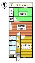 神奈川県横浜市鶴見区栄町通1丁目の賃貸マンションの間取り