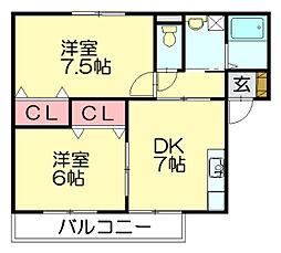ピーチガーデン清原[2階]の間取り