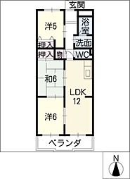 愛知県名古屋市中村区稲上町4丁目の賃貸マンションの間取り