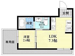 JR東海道・山陽本線 西大路駅 徒歩7分の賃貸マンション 3階1LDKの間取り